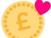 pound sign with love heart around it to show donating to school charity